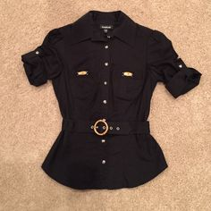 Bebe Collared Button Up. I wore this a couple times.  Picture does not do it justice. bebe Tops Button Down Shirts