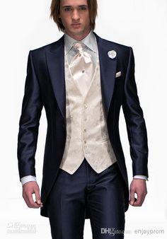 Custom made Mens Light Grey Suits Jacket Pants Formal Dress Men Suit Set men wedding suits groom tuxedos(jacket+pants+vest+tie)) Mens Wedding Suits Navy, Groom Tuxedo Wedding, Wedding Tuxedos, Navy Blue Groom, Navy Blue Tuxedos, Tuxedo Suit, Tuxedo For Men, Blue Tuxedo Jacket, Red Tuxedo