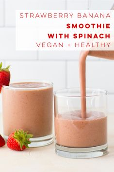 healthy vegan green smoothie is flavored with strawberries and bananas! Perfect dairy-free breakfast or snack. Smoothie Without Banana, Strawberry Banana Smoothie, Vegan Smoothie Recipes, Banana Recipes, Juice Recipes, Vegetarian Recipes, Dairy Free Breakfasts, Yummy Smoothies, Mindful