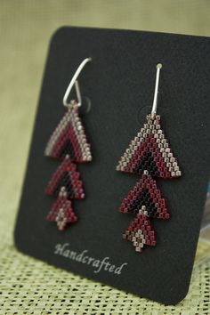 Red and Black Triple Triangle Beaded earrings