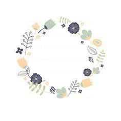 Spring Floral Frames Clipart Pack : Envye, A Design Shop by Wonder Forest Floral Illustrations, Illustrations And Posters, Flower Shop Design, Design Shop, Project Life Karten, Corona Floral, Wreath Drawing, Illustration Blume, Hand Drawn Flowers