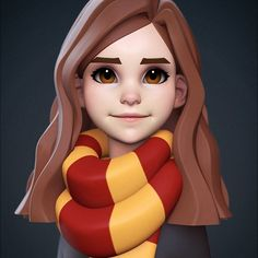 Hermione Granger - by Yuriy Moskvin -You can find modeling and more on our website.Hermione Granger - by Yuriy Moskvin - Zbrush Character, 3d Model Character, Female Character Design, Character Modeling, Character Creation, Character Concept, Character Art, Cartoon Faces, Cartoon Styles