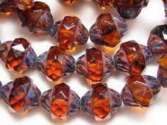 Dark Amber Picasso Czech Glass Turbine Beads Czech Glass Beads, Picasso, Amber, My Favorite Things, Dark