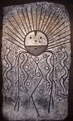 Southern Siberia , Оkunev culture, 2 nd century BC  Is it just me or does this resemble Southwestern Indian art?