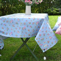 Oilcloth tablecloth.