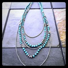 Lucky Brand Necklace Silver and turquoise makes the perfect necklace.  Pretty beading to add an interesting look! Lucky Brand Accessories