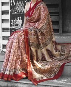 Elegant Chanderi Saree with Block Printing   India1001.com #Chanderi #Sarees