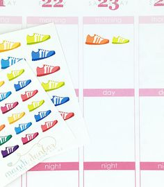 24 Colorful Running Shoe Stickers – Perfect for Erin Condren, Plum Paper Planner, Inkwell Press, Filofax, Scrapbooking & More