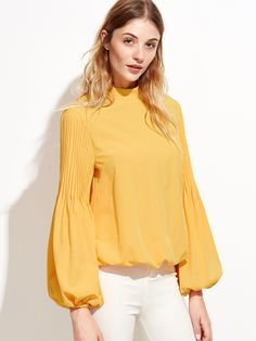 Blouse col montant manche lanterne - jaune-French SheIn(Sheinside)