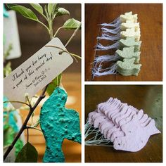 Plantable place cards wedding favor  doves in flight  by PulpArt, $10.00