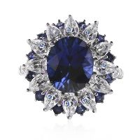 SAPPHIRE OVAL CLUSTER RING
