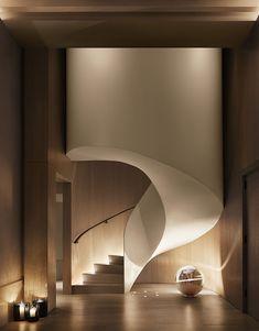 Лестница в доме, красивая архитектура интерьера