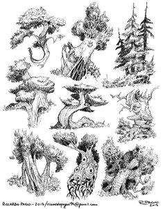 Landscape Sketch, Landscape Drawings, Fantasy Landscape, Landscape Art, Tree Sketches, Drawing Sketches, Art Drawings, Art Du Croquis, Ink Pen Art