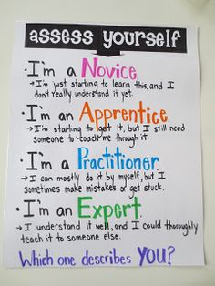 Here's a self-assessment anchor chart that can be used to frame an exit slip reflection. Love the vocabulary