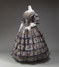 Dress Date: 1853–56 Culture: European Medium: wool, silk Dimensions: [no dimensions available] Credit Line: Gift of Lee Simonson, 1938