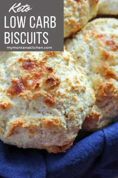 Delicious, homemade low carb biscuits in less than 20 minutes! Best Low Carb Recipes, Low Sugar Recipes, No Sugar Foods, Keto Recipes, Low Carb Biscuit, Low Carb Bread, Low Carb Keto, Low Carb Breakfast, Breakfast Recipes