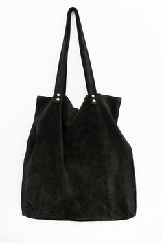 35c06e29e4f7 Black suede leather tote bag