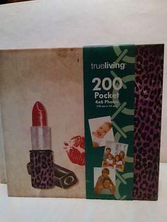 Photo Album 200 pockets Trueliving lipstick kisses lips cheetah print