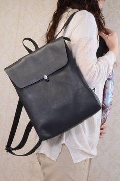 Minimalist Genuine Grain Leather Backpack