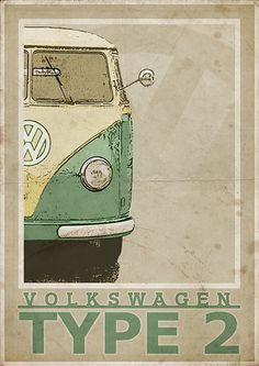 Volkswagen Type 2 Split Screen Van / Bus - Vintage Style Poster