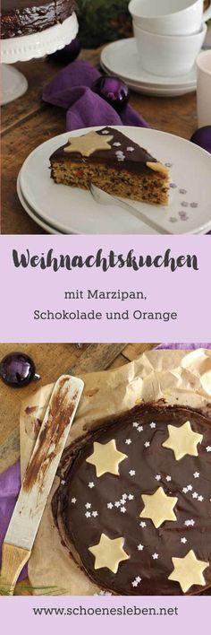 Fruchtiger Weihnachtskuchen mit Marzipan, Schokolade und Orange