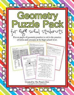 Geometry Puzzle Pack for High School Students - great for review!  $3.00