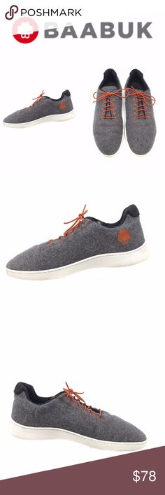 BaaBuk Men's Urban Wooler Sneaker Orange Sz US 9 BaaBuk Men's Urban Wooler Sneaker Orange Sz 42 Shoes Gray Felted Wool  Some darkening to soles; please see photos 100% wool, no blends, no compromises. Baabuk Urban Woolers are soft, breathable and naturally antibacterial.  - UPPER: 100% felted wool (naturally water-repellent) - INTERIOR: Lined with merino wool - SOLE: Lightweight & durable thermoplastic rubber sole - INSOLE: Wool topped, high-density foam with gel cushioning in forefoot…