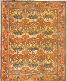 """Craftsman Rug. From Arts & Crafts Carpets, page 121. It's a """"Fintona"""" donegal rug made Silver Studio, which dates from 1902."""