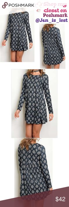 Long Sleeve Tribal Print Tunic Long Sleeve Tribal Print Tunic.  Color is Navy. Fabric Content: 90% POLYESTER 10% SPANDEX Tops Tunics