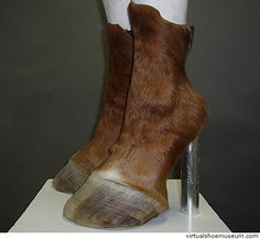 Yes, indeed they're real horse and goat hooves! German artist Iris Schieferstein specialises in creating very flamboyant boots and shoes made from a combin Hoof Shoes, Shoe Boots, Barn Boots, Crazy Shoes, Me Too Shoes, Weird Shoes, Funny Shoes, Carapace, Zapatos Shoes