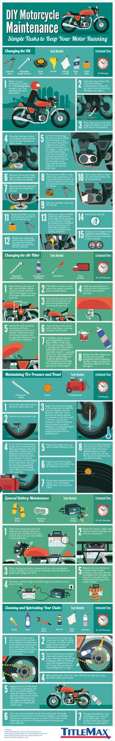 Things like changing your own oil and air filters, taking care of your battery, and checking up on your tire pressure and treads are easy routines that you don't have to pay someone else to do. Follow the #TitleMax quick checklist that every motorcycle owner should know how to do! #DIYMotorcycleMaintenance #Infographic