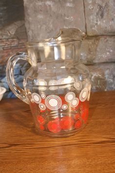 Vintage Large Mod Atomic Glass Pitcher Lemonade Ice tea Orange Juice Pitcher Milk Red White Circles on Etsy, $20.00