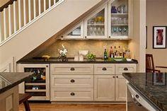 Under Staircase Ideas, Storage Under Staircase, Bar Under Stairs, Space Under Stairs, Stair Storage, Basement Storage, Basement Kitchenette, Kitchenette Design, Storage Room