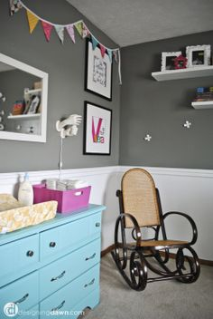 Nursery- I like the half walls bunting and dresser