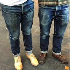 I like the pair with the iron rangers anyone know the denim brand on the right?