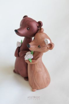 Bear Wedding Cake Topper - personalized animal clay cake topper and keepsake for…