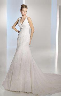 Sereia Decote em V Cauda Média Renda Luxo Elegante Vestido de Noiva (5L0105)FABB