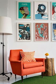 """Bold color meets natural elements. interiordesignmagazine: """" At Axiom's New York office, BHDM Design furnished meeting areas, i.e. """"living rooms,"""" with an edgy mix of mid-century and contemporary..."""