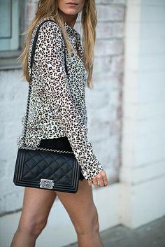 leopard + chanel boy bag