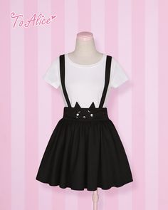 [To Alice] C878- wronged cat face embroidery strap dress skirt - Taobao
