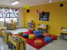 Love the colors Sunday School Rooms, Sunday School Classroom, Kids Church Rooms, Church Nursery, Daycare Spaces, Home Daycare, Classroom Design, Classroom Decor, Kindergarten Design