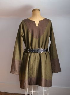 mens early medieval norse tunic shirt in linen for sca larp or renaissance faire size S -ready to ship-