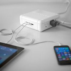 The Power Qube Charging Station is designed for the demands of the modern work environment. It charges up to 9 devices, with 3 USB ports and 6 standard outlets that are cleverly oriented to allow adapters to be plugged next to each other.