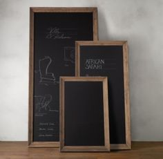 Marseilles Chalkboard from Restoration Hardware.  Thinking we need two of these big ones.  Would be great for underneath Cameron's shelves.