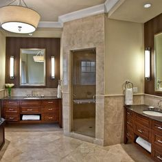 double vanity & corner shower - love this!!! one thing i will not do without is a huge master bathroom!! i demand it!!