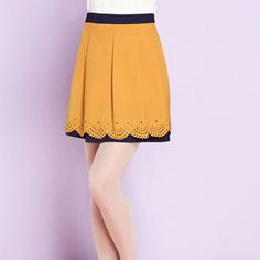 Buy 'Moonbasa – Two-Tone Perforated Trim Skirt' at YesStyle.com plus more China items and get Free International Shipping on qualifying orders.