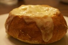 French onion soup in bread bowl