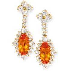 Lenox 18K Yellow Gold Mandarin Garnet & Diamond Drop Earrings (1.537.985 RUB) ❤ liked on Polyvore featuring jewelry, earrings, drop earrings, gold diamond pendant, 18k gold pendant, 18 karat gold earrings and gold drop earrings