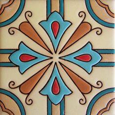 "Hand Painted Relief Tile ""Monterrey"""