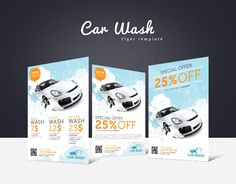 Promote your business with a unique and creative flyer template package.  Perfect for a wide range of car wash related businesses like: Car Wash & Auto Detailing Services or Car Wash Equipment. #carwash #autodetailing #flyer